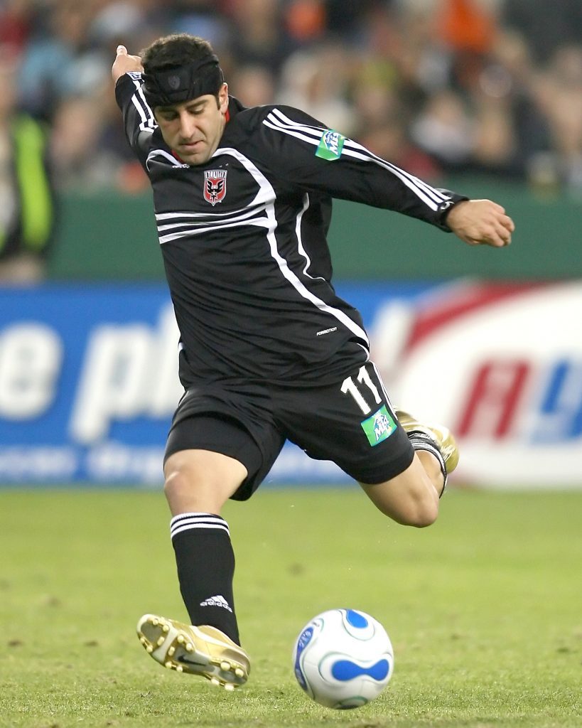Alecko Eskandarian winds up a shot. DC United dominated visiting New England in nearly all aspects of the game except on the scoreboard where Taylor Twellman's strike in the fourth minutes was the difference giving New England a 1-0 victory at RFK stadium in Washington DC on November 5 2006. (Photo by Tony Quinn/MLS)